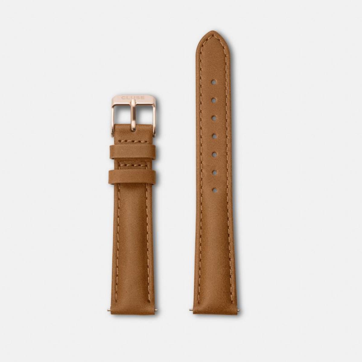 Cluse horlogeband CLS303 Minuit Leder Cognac 16mm + bruin stiksel