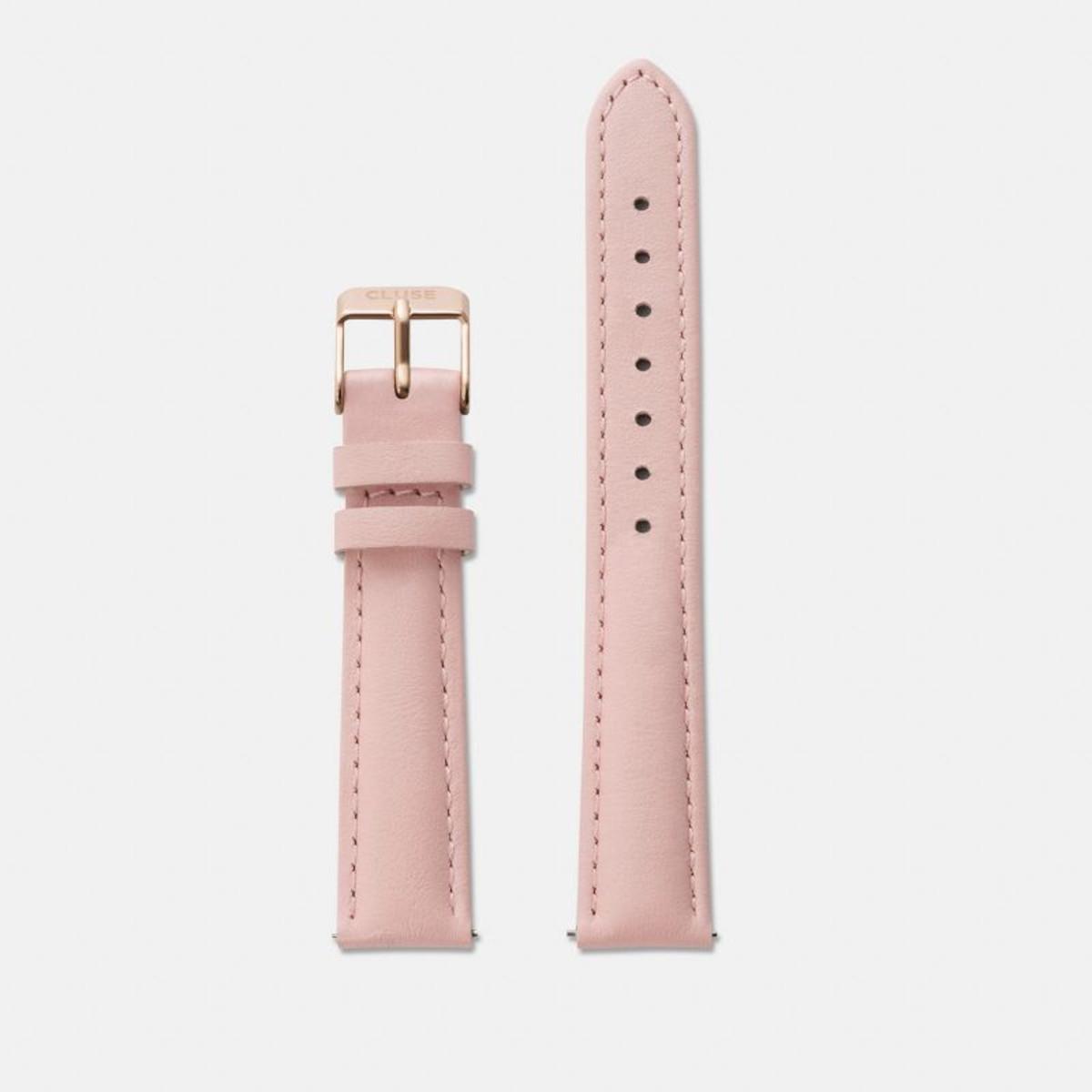 Cluse horlogeband CLS304 Minuit Leder Roze 16mm + standaard stiksel