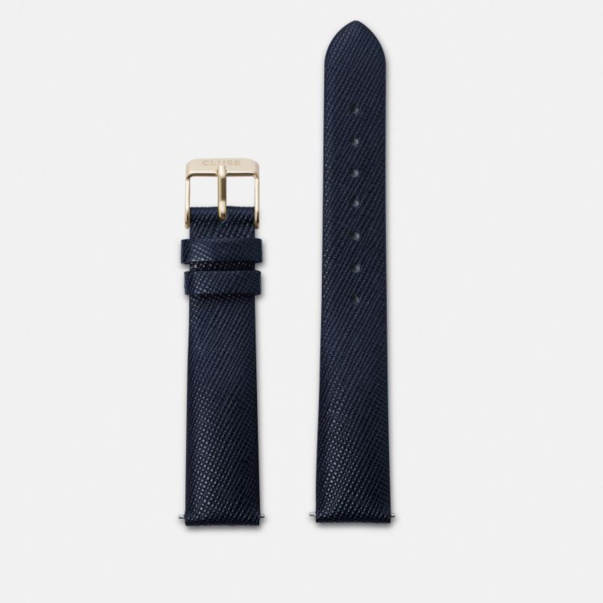 Cluse horlogeband CLS360 Minuit Leder Blauw 16mm